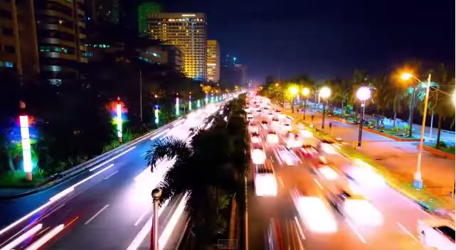 Night View of Roxas Blvd. From The Filipino-American Friendship Footbridge.